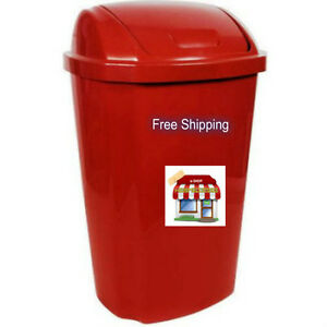 lid hefty swing 13 5 gallon trash can garbage red plastic bin kitchen basket. Black Bedroom Furniture Sets. Home Design Ideas
