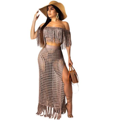 Summer Women Boat Neck Tassels Hollow Out Side Slit Beach Vacation Dress 2pcs