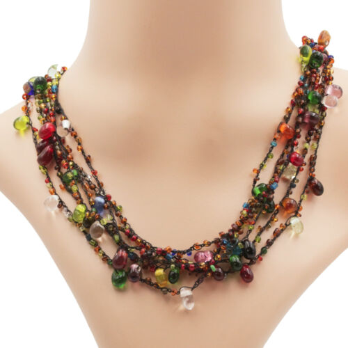 Glasperlenkette bunte Kette Halskette Glasperlen Collier mit Knebelverschluss