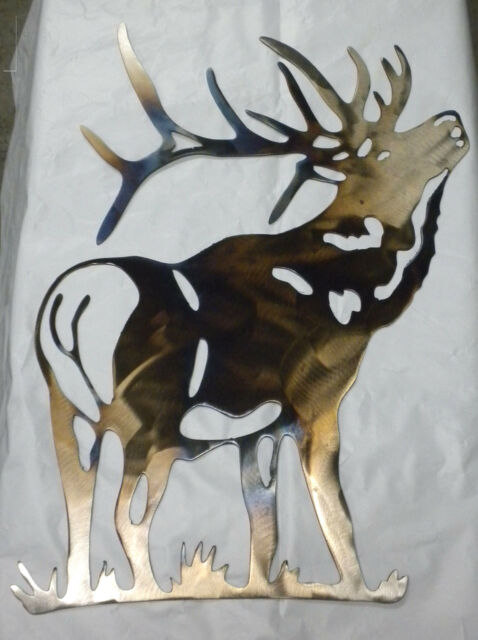 16 inch Bull Elk Metal Wall Art Ornament Stencil Cabin Deer Rustic Heat Colored