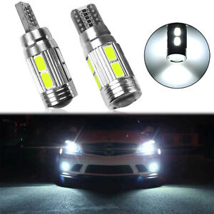 (2) HID White 10-SMD Error Free LED Bulbs For Euro Car Parking Lights W5W T10
