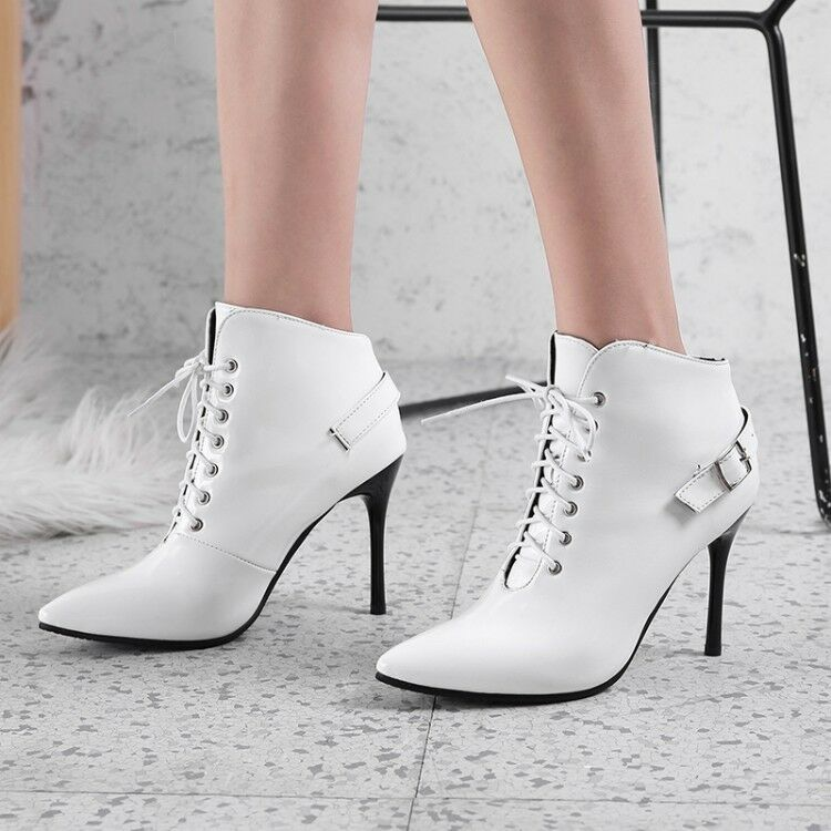 Women Lace up Pointy Toe Stiletto Shoes Slim High Heel Buckle Ankle Boots Big SZ