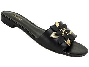 61807f5d2d4 Michael Kors Women s Heidi Flat Sandals Black Leather Size 5.5 M ...
