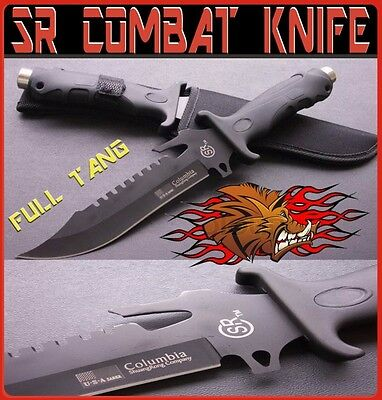 COMBAT HUNTING KNIFE SHEATH FULL TANG BOWIE SURVIVAL RAMBO PIG STICKER BLACK SR