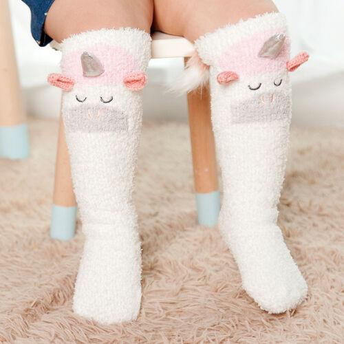 Kinder Mädchen Cartoon Koralle Socken Winter Warm Schule Hohe Knie Strümpfe