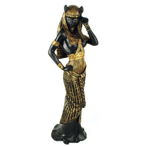 """Egyptian Goddess Bastet as Woman Ancient Deity of Cats War Protection 11/"""" Statue"""