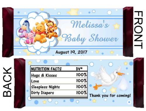 BLUE WINNIE THE POOH BABY SHOWER FAVORS CANDY BAR WRAPPERS HERSHEY BAR WRAPPERS