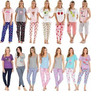 Womens-Ladies-Cotton-Pyjamas-Pyjama-PJs-Summer-Nightwear-Set-Size-8-18-NEW