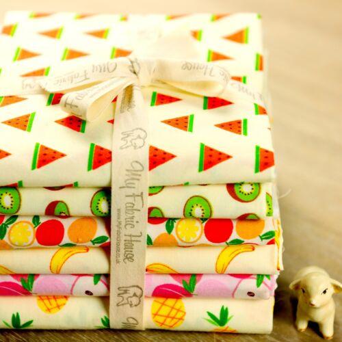 6 reservado fruta de Tela de AlgodónVerde Amarillo RosaFat Quarter Bundle Coser Quilting