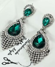 1 Pair Elegant Green Crystal Rhinestone  Ear Drop Dangle Stud long Earrings 183