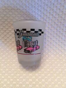 Graceland-Frosted-Shot-Glass-Elvis-Memphis-Music-Checkered-Border-Pink-Black