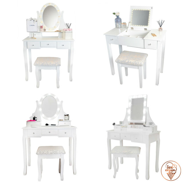Fantastic Hollywood Dressing Table With Vanity Mirror Lights Stool Set Jewellery Drawers Ncnpc Chair Design For Home Ncnpcorg