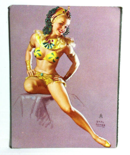 1940s Pinup Girl Blotter Card Earl Moran Blonde Egyptian Revival Art Egypt