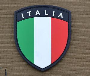 PVC-Rubber-Patch-034-Italian-Italia-Flag-Shield-034-with-VELCRO-brand-hook
