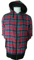 Mens Hot Topic Chor Multi Color Plaid Full Zip Hooded Cotton Sweater Xl