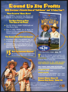 HOW-THE-WEST-WAS-FUN-Orig-1996-Trade-AD-promo-MARY-KATE-amp-ASHLEY-OLSEN-Twins