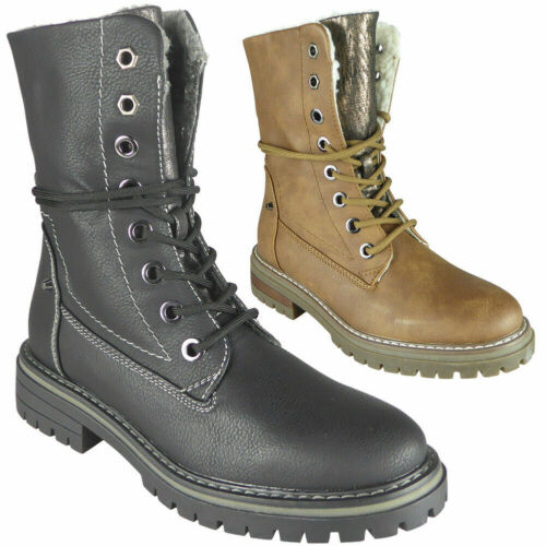 Womens Ankle Boots Ladies Warm Winter Fleeced Lined Comfy Lace Up Shoes Sizes