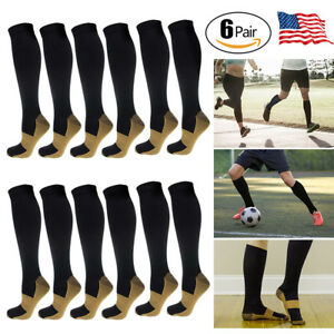 d6b510442 USA 6 10 Pairs Knee High Leg Support Stockings COPPER Compression ...