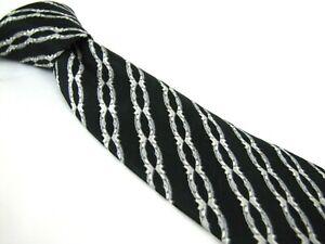 STEFANO-RICCI-Tie-Midnight-Blue-Silver-Chain-Link-Stripe-with-Texture-Necktie