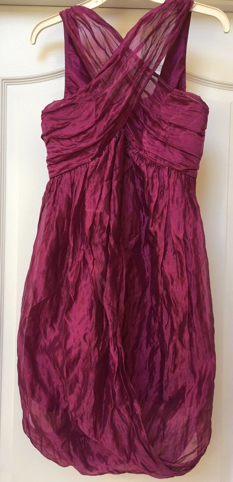 Nicole Miller gold Label Raspberry Organza Ruched Gorgeous  Dress , Size 6