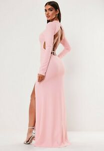 MISSGUIDED-BLUSH-HIGH-NECK-OPEN-BACK-FRONT-SPLIT-MAXI-DRESS-RRP-30