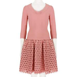 Alaia-Luxurious-Coral-Pink-Mesh-Skater-Dress-FR40-UK12
