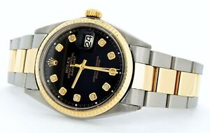 Rolex-Datejust-Mens-Stainless-Steel-amp-Yellow-Gold-Watch-Black-Diamond-Dial-1601