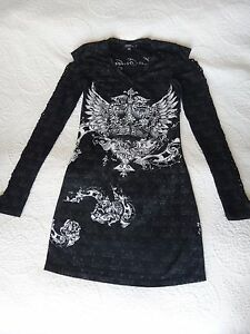 LACULTURE-Black-Mini-Dress-Long-sleeves-with-Crown-Print-and-rhinestones-Size-S