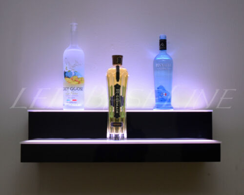 36 LED LIGHTED SHELF, 2 TIER WALL-MOUNTED, Home/Bar Liquor Bottle Display Rack