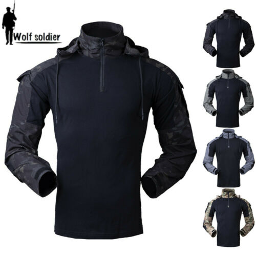 Mens Military T-Shirt Tactical Army Gen3 Combat Casual Shirts Hooded Camouflage