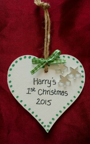Xmas,Tag,Gift,acrylic PERSONALISED BABY/'S FIRST//1st CHRISTMAS TREE DECORATION