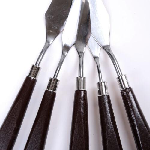 Set Edelstahl Spatel Palette Messer Malerei Mischen Schaber Werkzeuge ZP 5pcs
