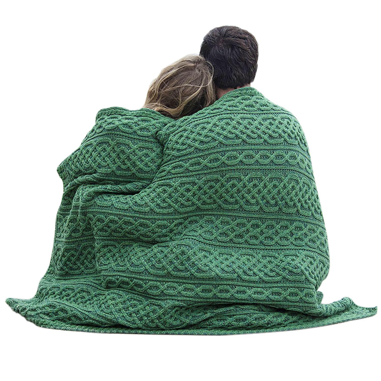 Wool Blanket Irish cable stitch Cozy Blanket Measures 50  x 50  Carraig Donn