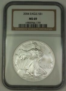 2004-American-Silver-Eagle-Coin-ASE-NGC-MS-69-Near-Perfect-GEM