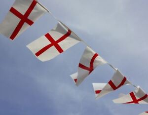 33FT St George England 30 Fabric Flags Bunting Banner Football Sport Decorations