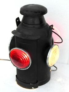 Railroad-Lantern-Vintage-Light-Electric-Antique-Lamp-Switch-4-Way-Signal-Indian