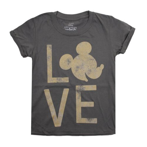 Girls T-Shirt 7-14 Years Mickey Mouse Love Distressed Gold Look Disney