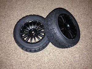 New kyosho drx demon, 2 x black wheels & Preglued rallye pneus, 12mm hex TRT121  </span>