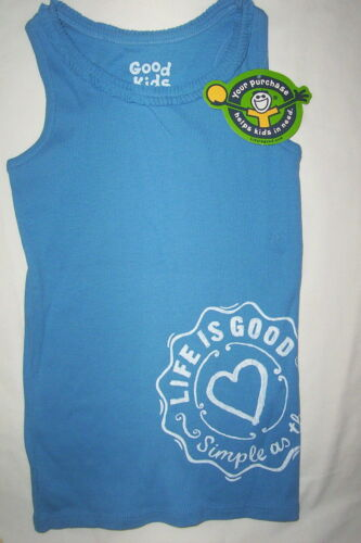 "BLUE-SMALL 5-6 $20 LIFE IS GOOD /""RUFFLE TANK HEART/"" TANK TOP SHIRT NWT"