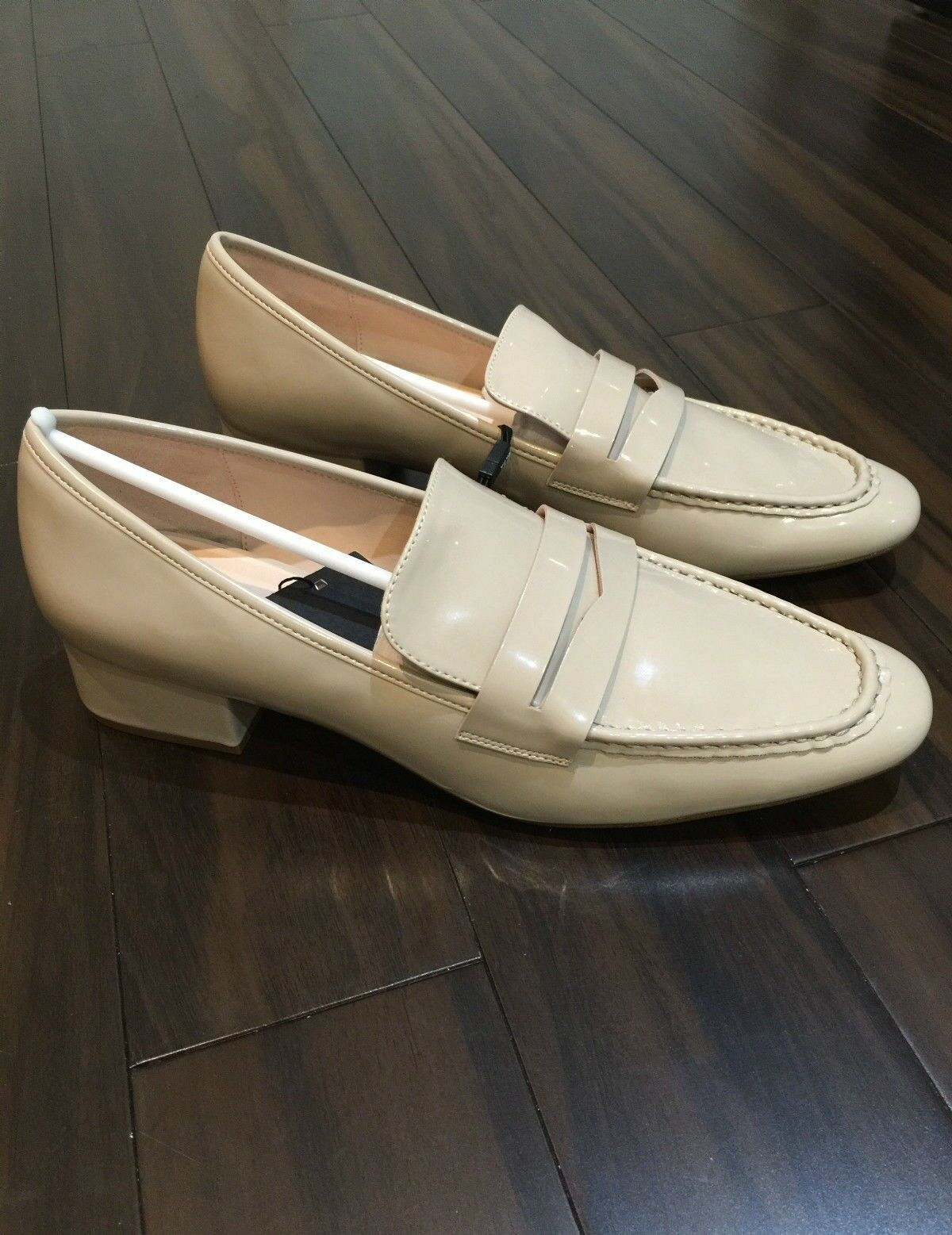 NEW ZARA BEIGE PATENT LOW HEELED LOAFERS SHOES SIZE UK 8 EU 41 USA 10