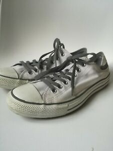 Converse-All-Star-White-Grey-Low-Top-Lace-up-7-Hole-Sneakers-Trainers-Uk-Size-9