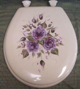 Hand Painted Roses Toilet Seat Plum Eggplant Purple