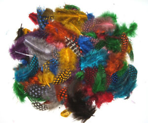 "Spotted Guinea Hen Feathers 1-4"" Body Plumage MIXED COLORS 1/4 oz bag"