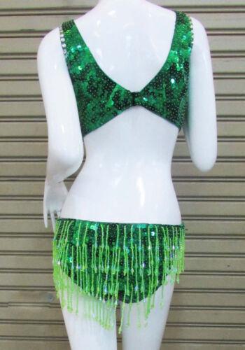 Da NeeNa L048 Green Crystal Burlesque Latin Salsa Leotard  Bodysuit  XS-XL