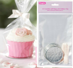 12 Cupcake Gift Bags With Ribbon Ties Boards Cake Party Bags Wedding Favours 5015462168576 Ebay