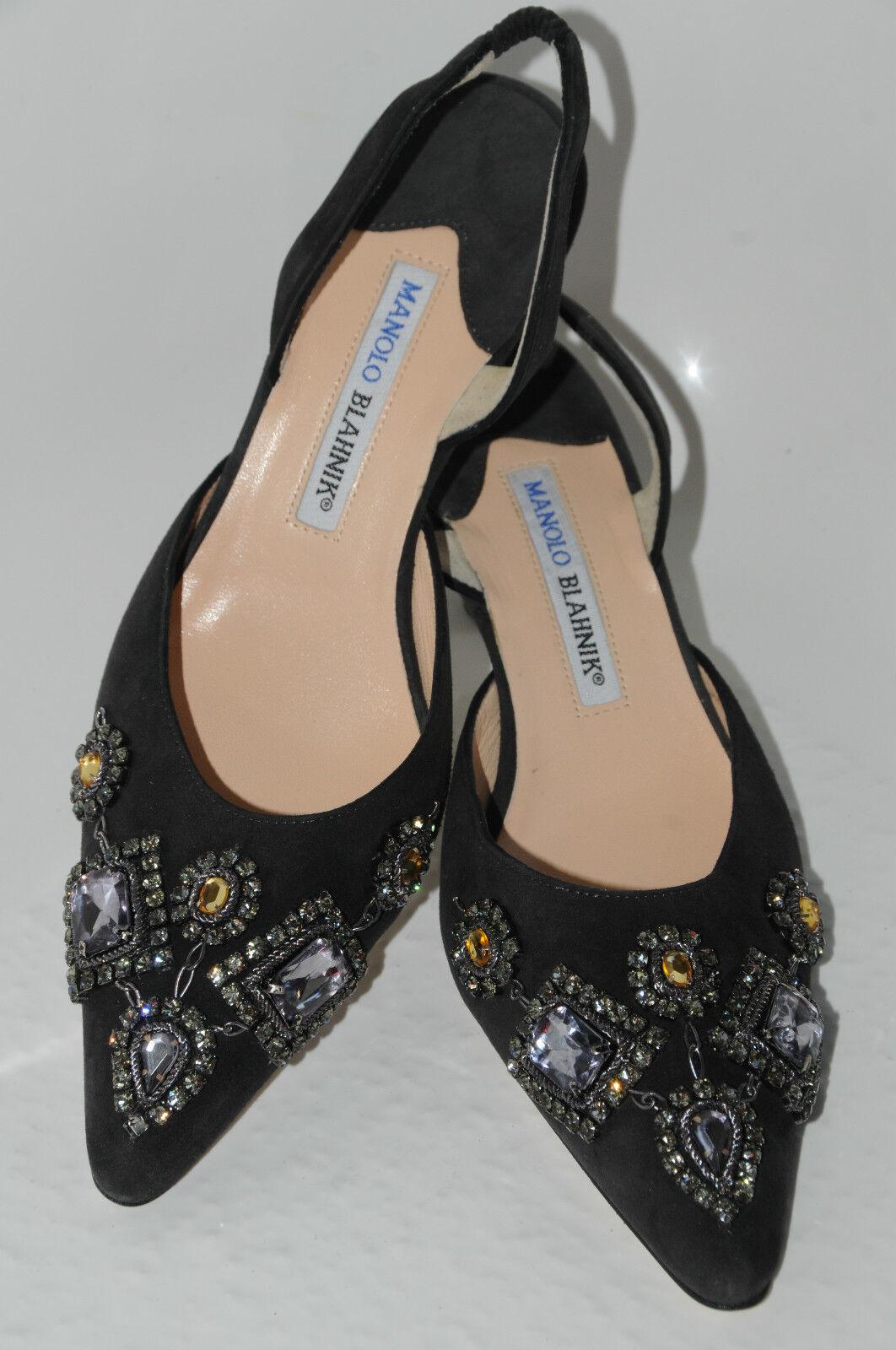 sconto prezzo basso New MANOLO BLAHNIK JEWELED Carolyne Topaz RHINESTONE RHINESTONE RHINESTONE Dr grigio nero scarpe 37  servizio onesto