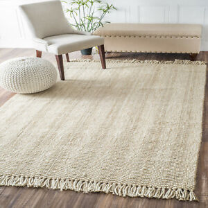 Contemporary-Area-Rug-Braided-Wavy-Chevron-Tassel-Mats-Jute-Fringe-Natural-Rugs
