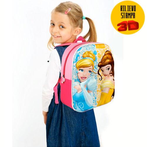 Zainetto Principesse Disney Belle Cenerentola Stampa 3D Bambine Scuola Asilo