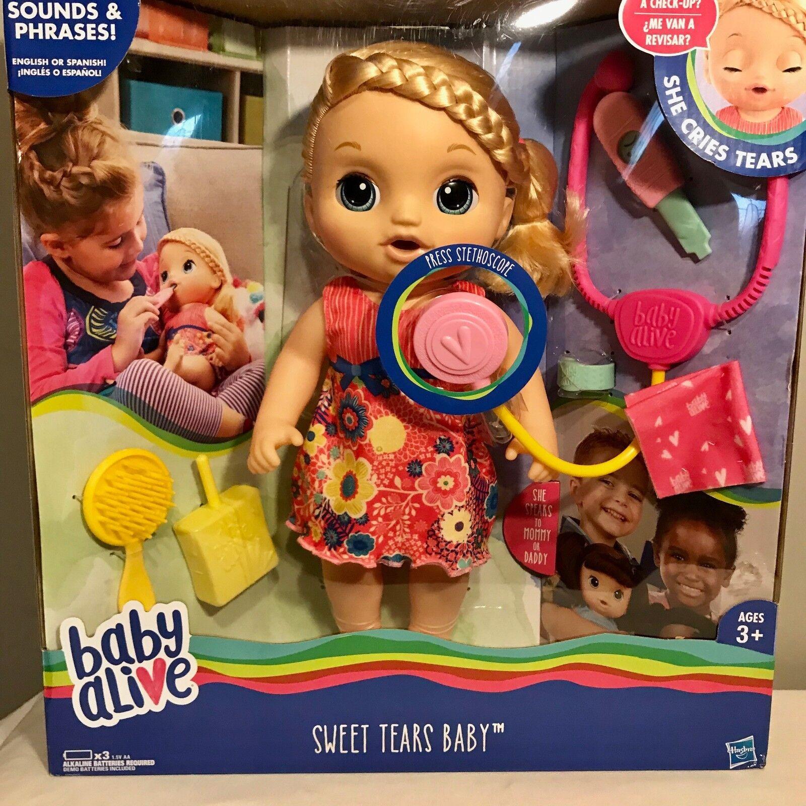 2016 Hasbro Baby Alive Dulce lágrimas Muñeca Interactiva bebé rubia Bilingüe