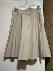 NWT-Brooks-Brothers-Women-039-s-High-Waist-Beige-Beige-Lined-Pleated-Skirt-Sz-6P